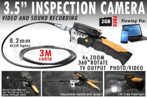 cia380-3-5-lcd-inspection-camera-8-2-mm-borescope-endoscope-scope-zoom-rotate-3m-cable